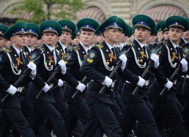Cadets of the Moscow Frontier Institute of the Federal Security Service of Russia at the dress rehearsal of the parade.