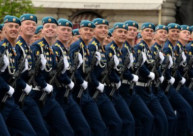 Cadets of the Ryazan Airborne Command School during the dress rehearsal of the parade on Red Square in honor of the Victory Day.