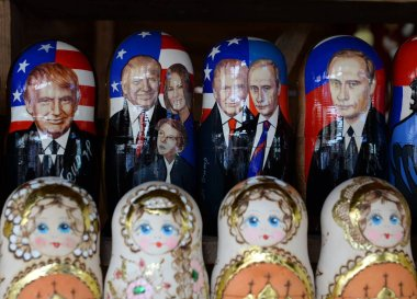 Nested dolls depicting Russian President Vladimir Putin and US President Donald Trump on the souvenir counter in Moscow