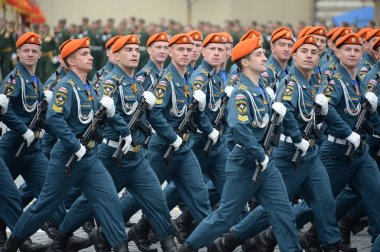 Cadets of the Academy of civil protection of EMERCOM of Russia during the parade on red square in honor of victory Day