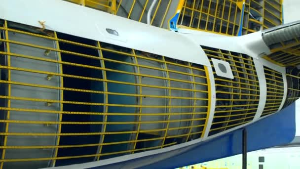 Inner parts of a plane - close-up view