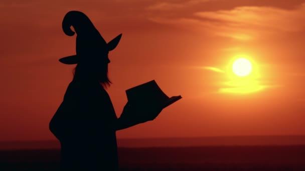 lány jelmezes ruha és kalap boszorkány varázsol nagy magicbook Sunrise megtekintéséhez