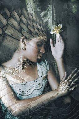 young black woman portrait double exposure fantasy concept