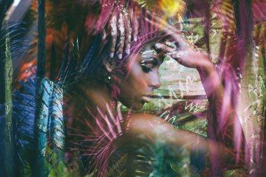 young black woman fantasy portrait profile double exposure