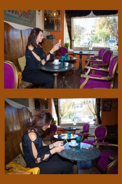 correct and incorrect sitting in this example woman sit in a cafe using tablet side view