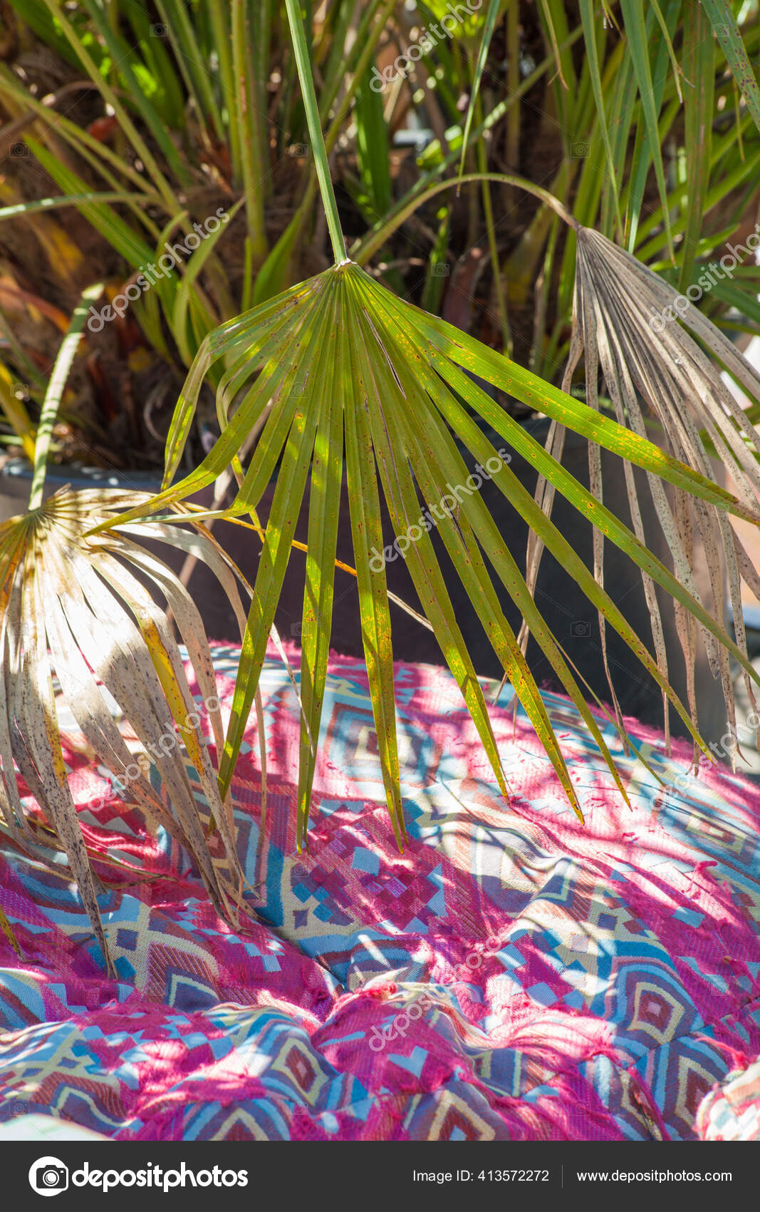 Boho Style Colorful Ottoman Pouf Garden Outdoor Decor Stock Photo C Cokacoka 413572272