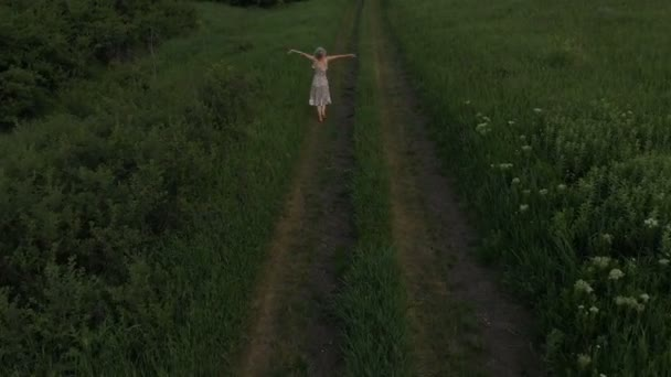 Cheerful young girl walking barefoot on a country road. aerial viewl. Taken on Mavik Air 4k 100kbps