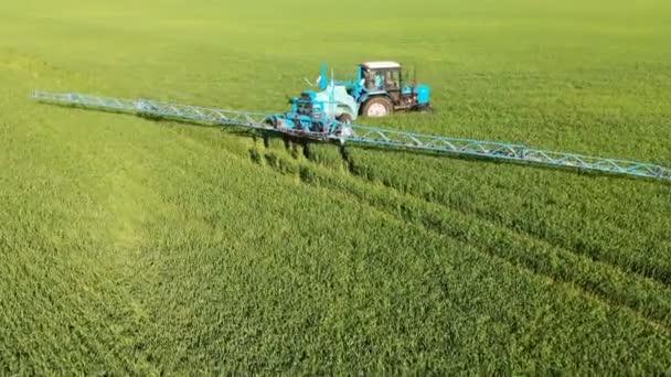 Krasnodar, Rusko – 24. květen, 2019: letecký strojní zařízení běloruský traktor s zavlažovacím přívěsem projíždí zeleným polem zemědělských plodin a provádí zavlažování.