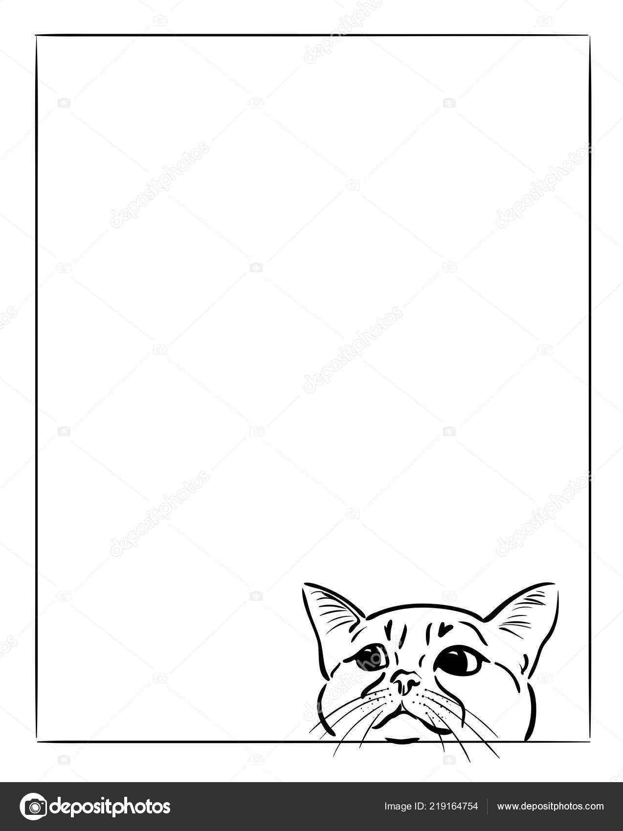 Cat Looking Frame Vector Graphic Illustration — Stock Vector ...