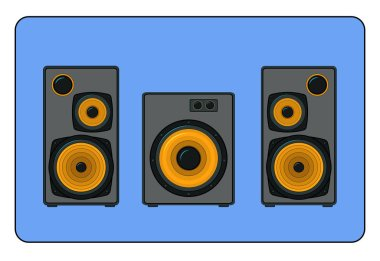 two stereo speakers and sub woofer on blue background