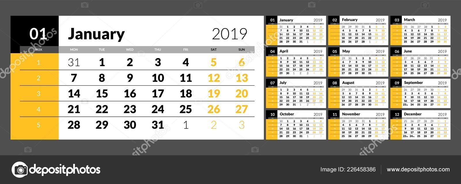 Calendario Numero Settimana 2019.Il Calendario Per Il 2019 Nuovo Anno Stampabile Vettoriali