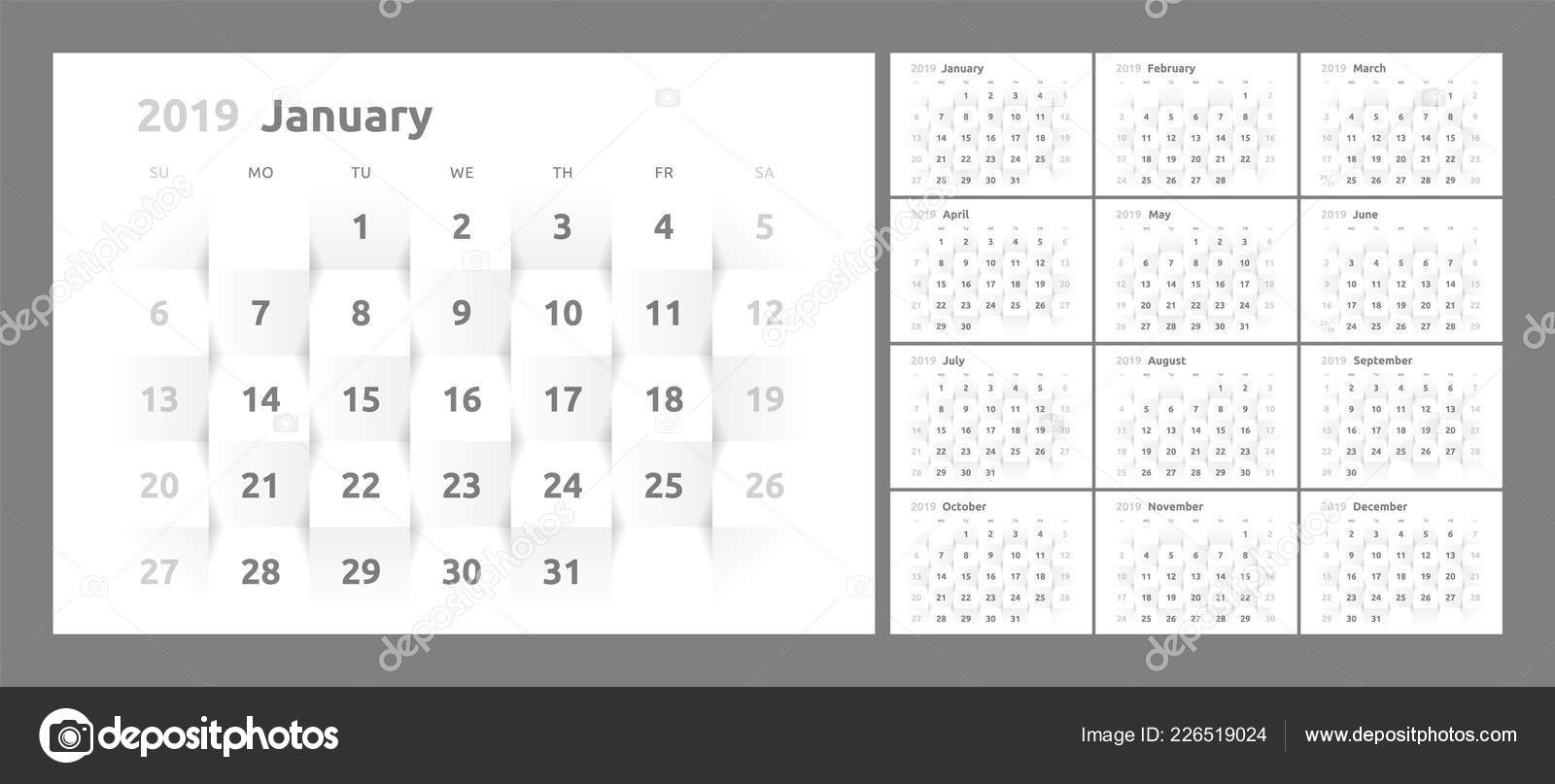 The Calendar For The 2019 New Year Printable 3d Paper Stock