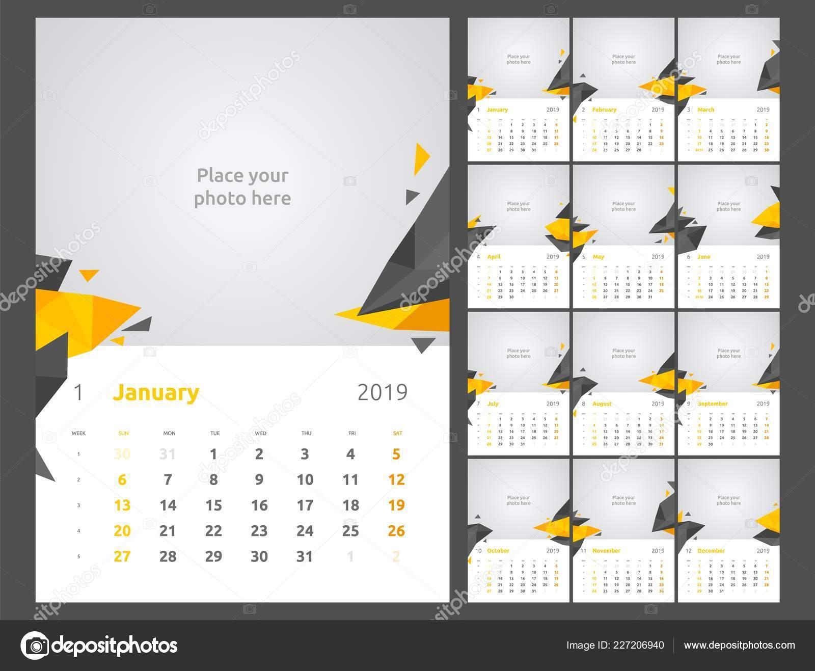 Calendar Pages To Print 2019.Calendar Design For 2019 Set Of 12 Calendar Pages Vector Design