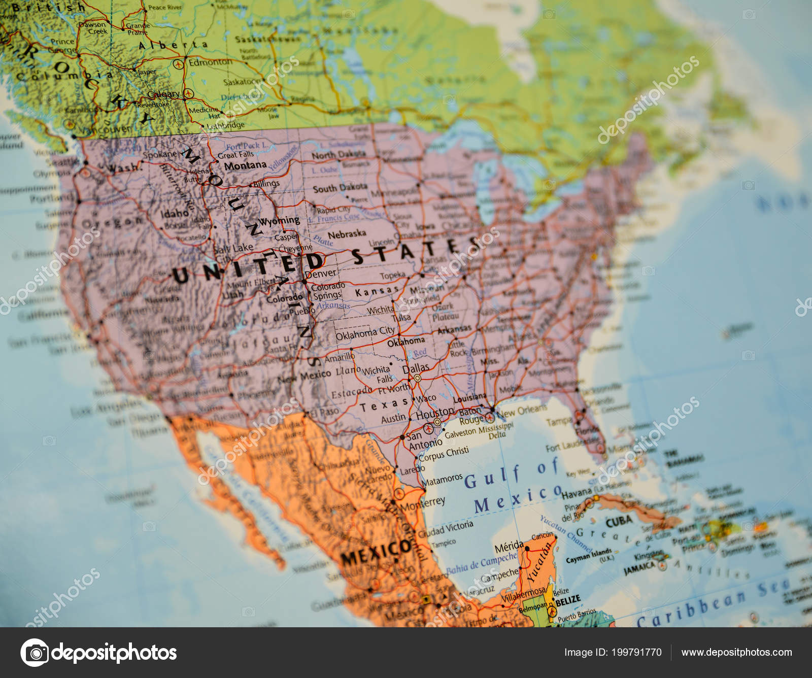 United States Map Topographic.Closeup Shot North America Topographic Map Centred United States
