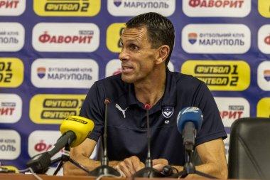 ODESSA, UKRAINE - August 9, 2018: Gustavo Augusto Poyet Dominguez head coach Bordeaux during the game UEFA Europa League 2018 FC Mariupol (Ukraine). Press Conference Coach Bordeaux Poyet Dominguez