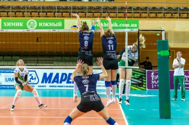 Odessa, Ukraine November 27, 2018: 2019 CEV Volleyball CUP - Women 16th Finals Khimik YUZHNY (UKR) - green Swietelsky BEKESCSABA (HUN) - blue. Official European Volleyball Tournament Ball