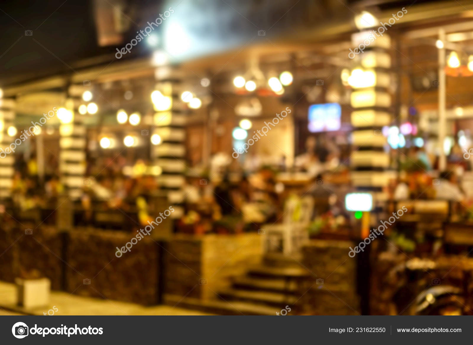 Interior Small Restaurant Blurred Background Blurred Bokeh Cafe Interior Warm Stock Photo C Alesik 231622550