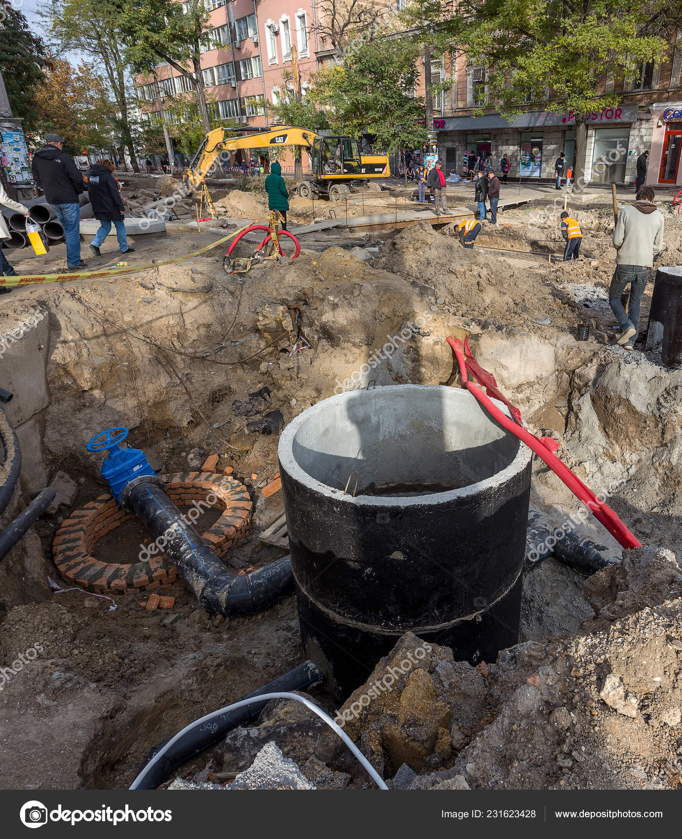 Odessa Ukraine September 2016 Dug Deep Trench Utilities
