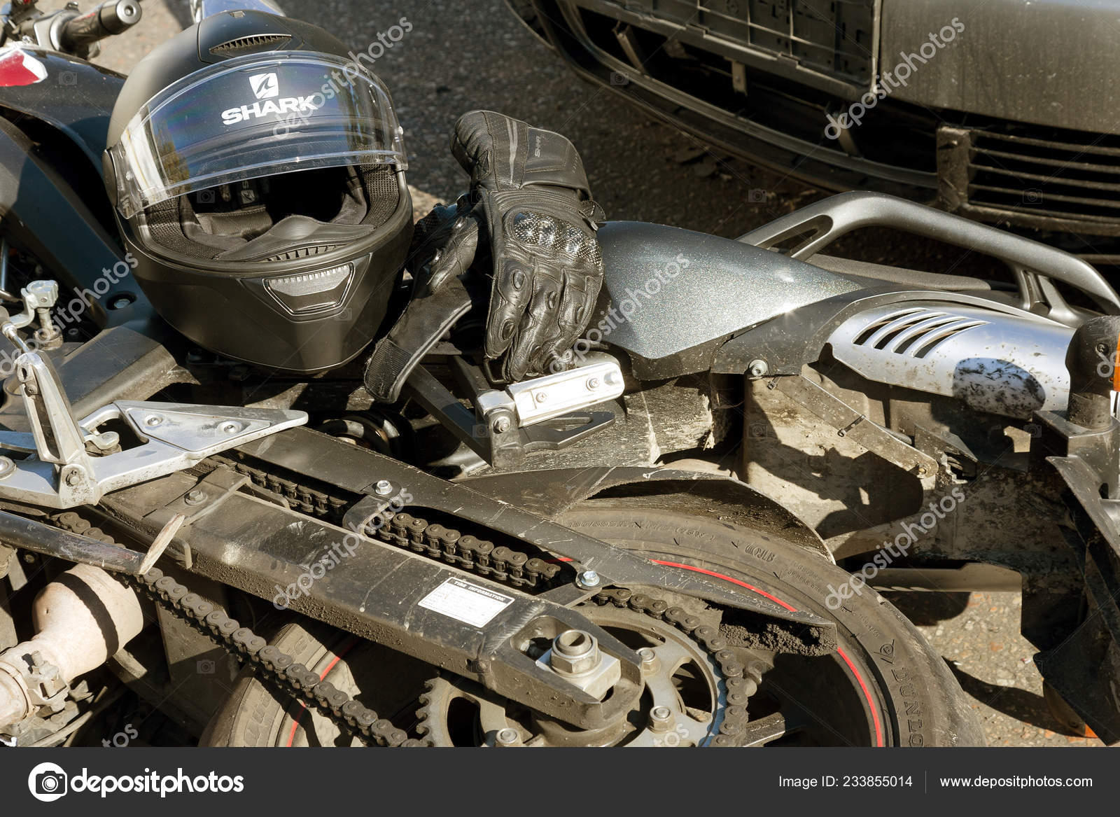 Odessa Ukraine October 2017 Easy Accident Car Motorcycle