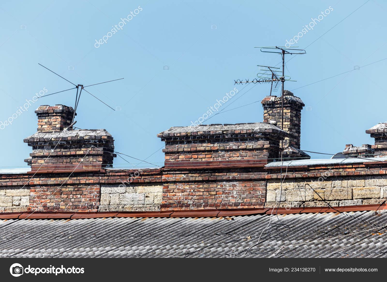 Roof Old Building Old Damaged Chimneys Brick Broken Television Antenna Stock Photo C Alesik 234126270
