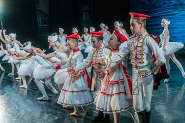 ODESSA, UKRAINE - JULY 17, 2019: Ballet. Classical ballet on the stage of the Odessa Opera Theater. Ballet dancers on stage dance classical pieces, world classical dance hits
