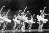 Odessa, Ukrajna-July22, 2019: balett. Klasszikus balett színpadon az Odessza Opera Theater. Balett táncosok a színpadon tánc klasszikus művek Swan Lake. Formája a művészi labdát táncolni szakaszában Színház