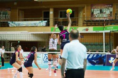 ODESSA, SOUTH, UKRAINE - October 15, 2019: Women's European Volleyball Championship. Female KHIMIK YUZHNY - MLADOST ZAGREB Croatia. CEV Champions League Volley 2020. Women's Intense Volleyball Game