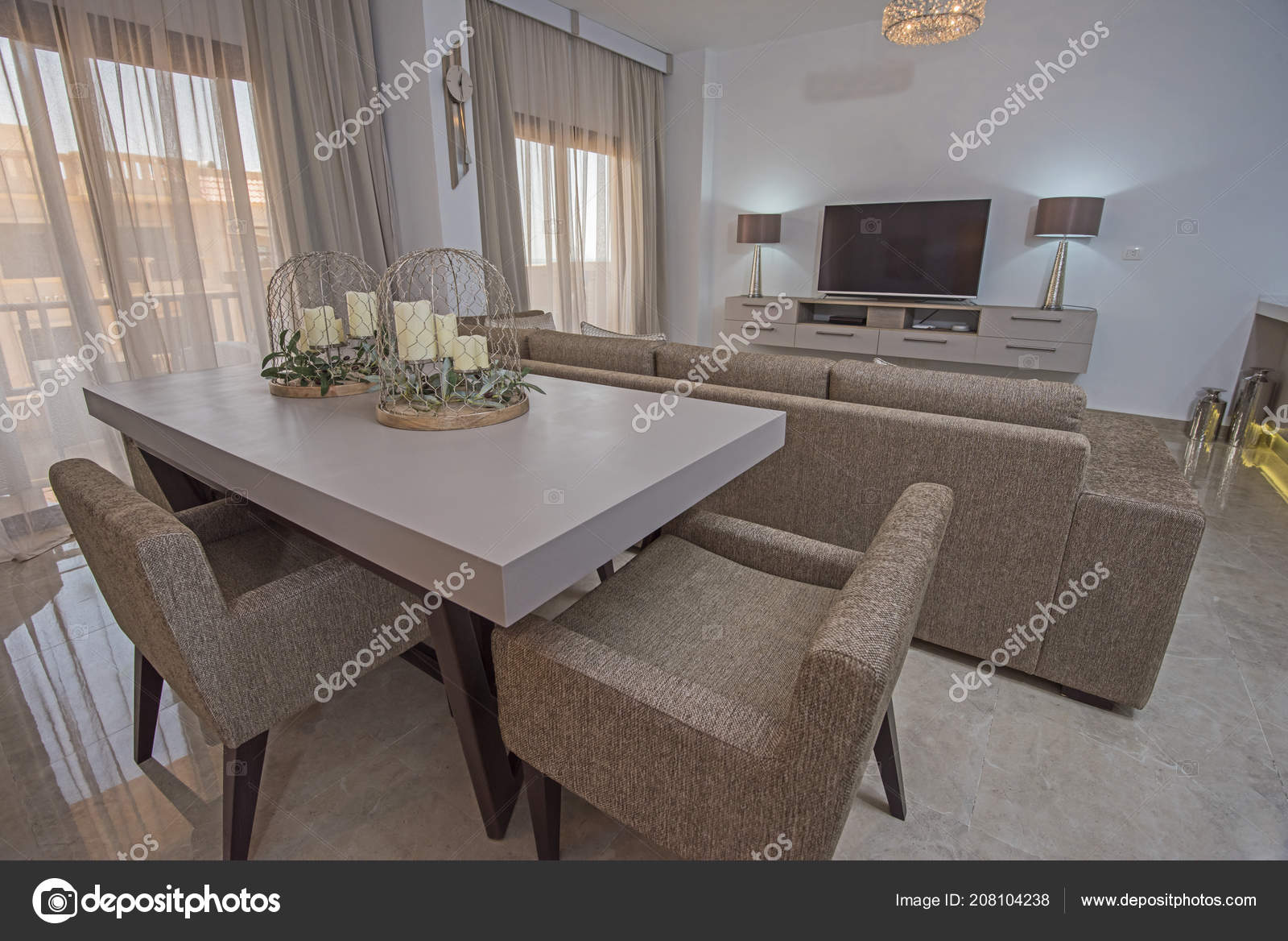 Living Room Lounge Dining Table Luxury Apartment Show Home ...