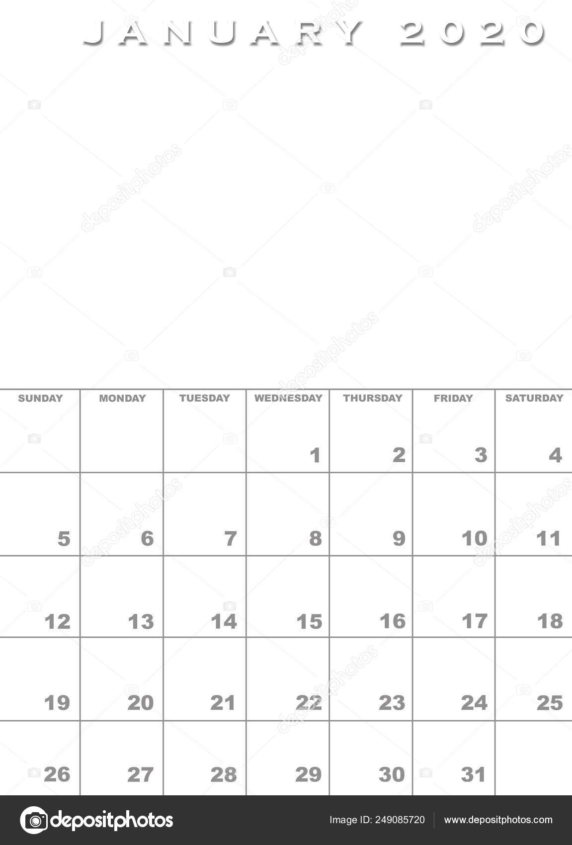 Calendario Gennaio 2020.Modello Di Calendario Gennaio 2020 Foto Stock C Paulvinten