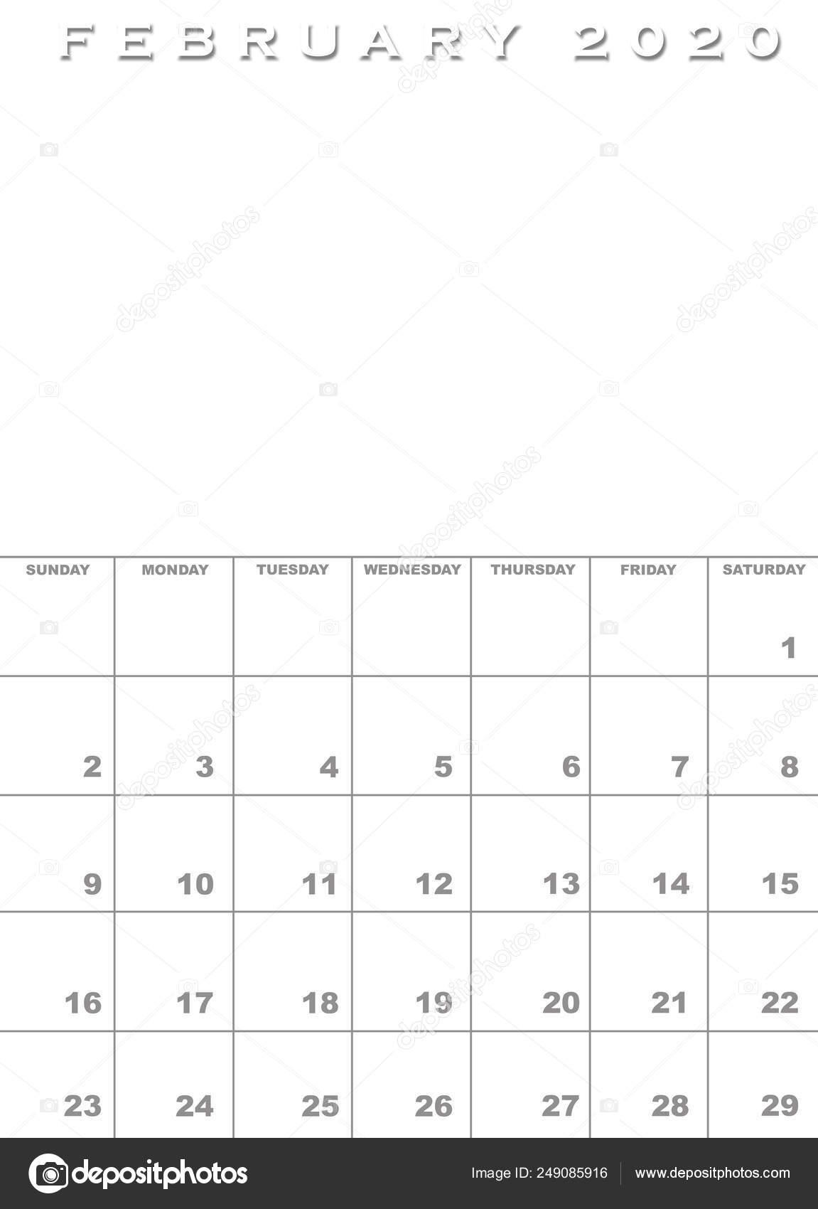 Febbraio Calendario 2020.Modello Di Calendario Febbraio 2020 Foto Stock