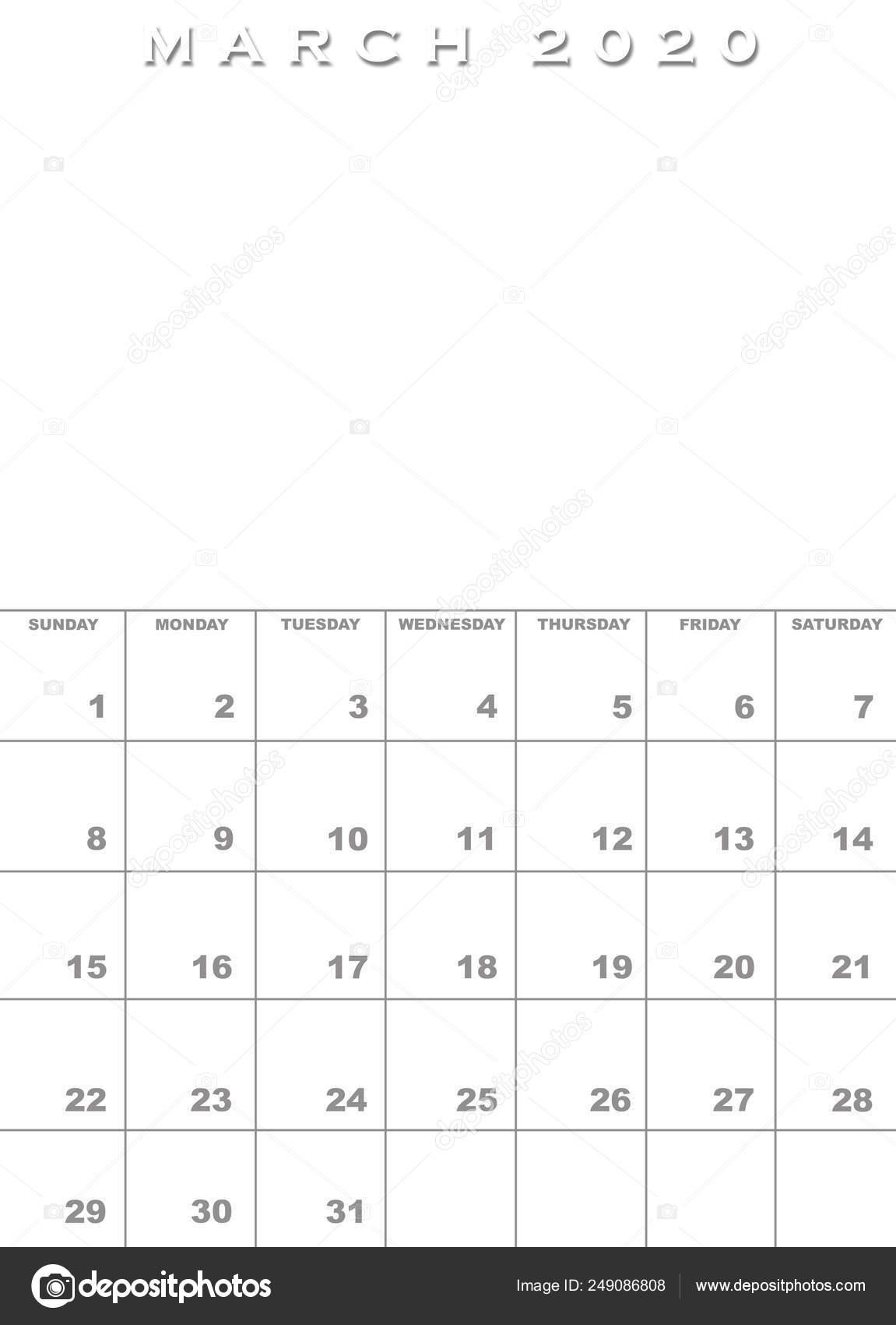 Calendario Fotografico 2020.Modello Di Calendario Marzo 2020 Foto Stock C Paulvinten