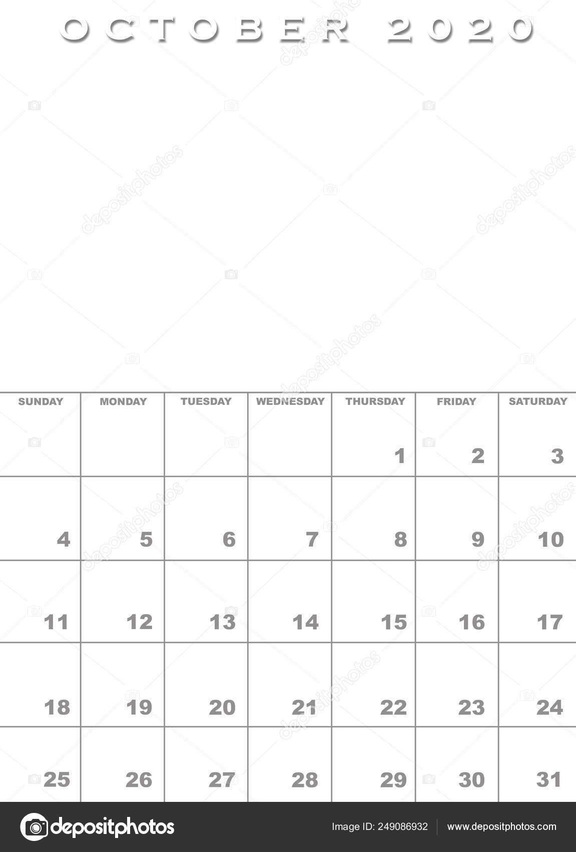 Calendario Mese Ottobre 2020.Modello Di Calendario Di Ottobre 2020 Foto Stock