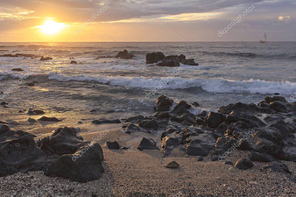 spectacular sunset on a tropical beach