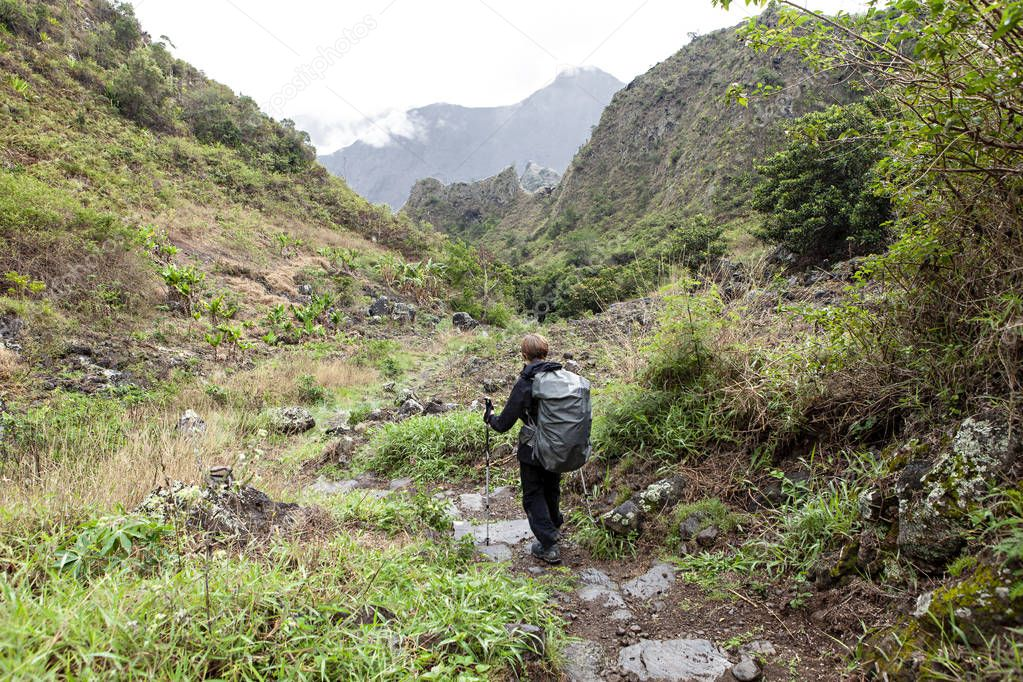 difficult trek in tropical island