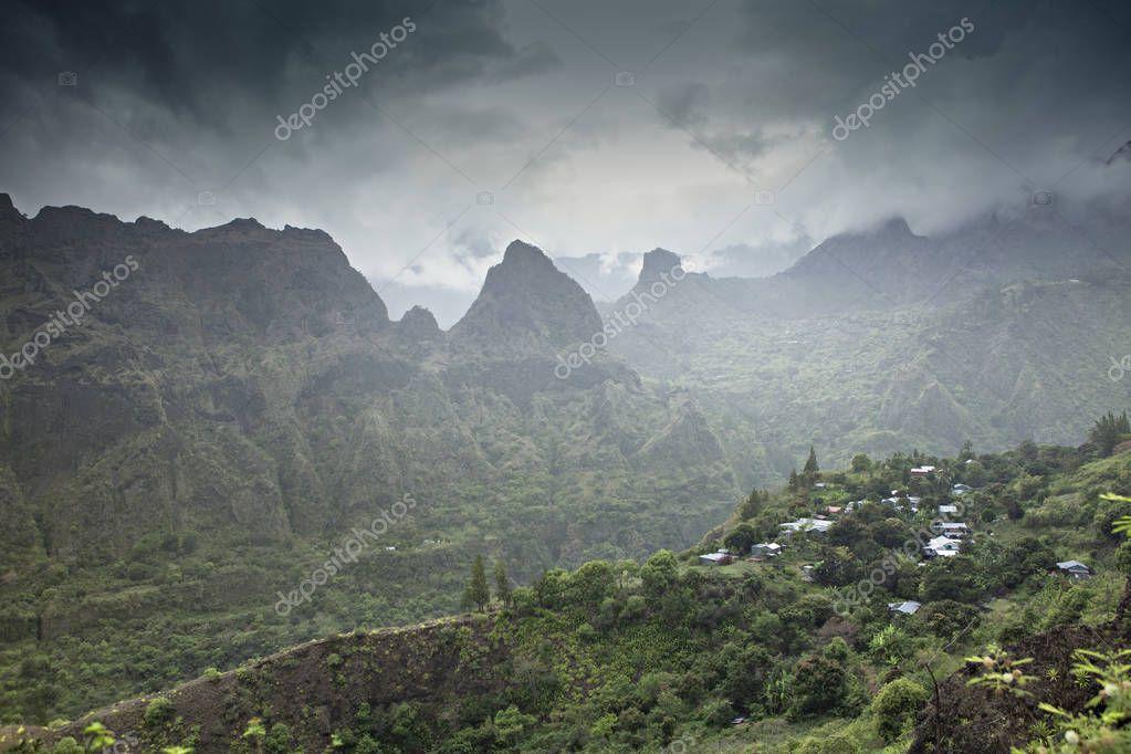 remote village in tropical island