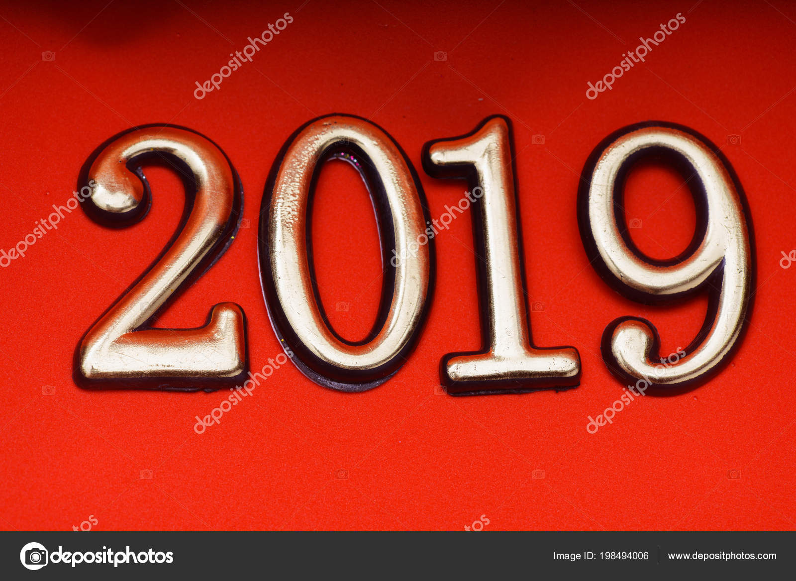 Greeting Card Design Template Gold 2019 On Red Lettering Stock