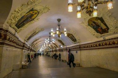 MOSCOW, RUSSIA- APRIL, 29, 2018: Beautiful indoor view of Kievskaya Metro Station in Moscow. It is on the Koltsevaya Line, between Park Kultury and Krasnopresnenskaya stations