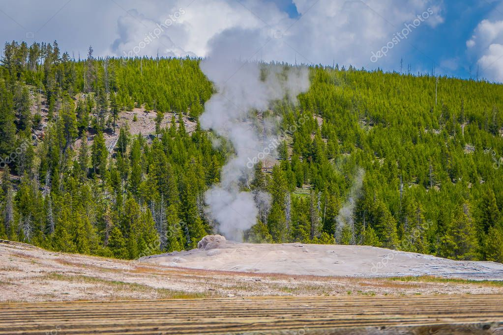 Hot geyser pool in Old Faithful area of Yellowstone National Park