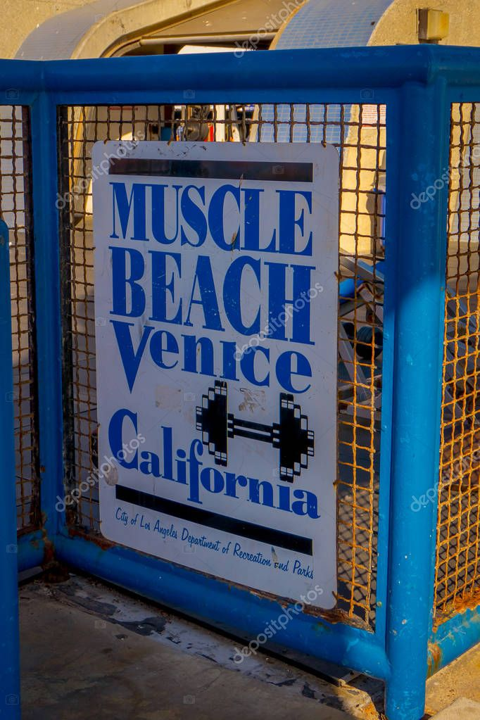 Los Angeles, California, USA, JUNE, 15, 2018: Venice Beach, muscle beach sign welcomes visitors to the famous town in Los Angeles, where bodybuilders workout and lift weights