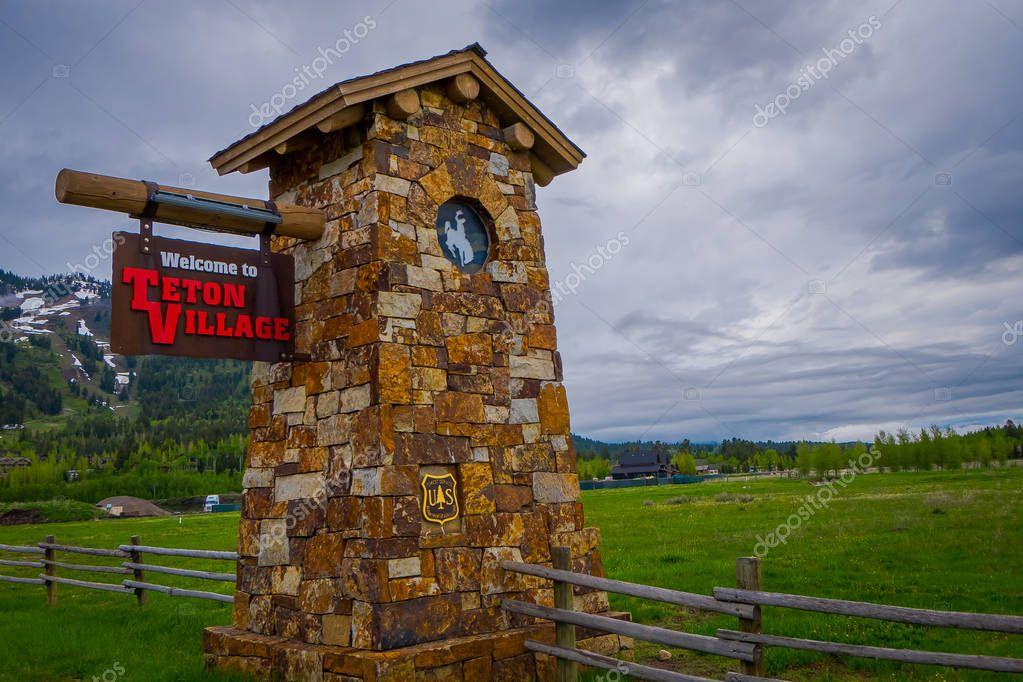 JACKSON, WYOMING, USA, JUNE, 07, 2018: Outdoor view of wyoming entrance sign to Teton Village Wyoming