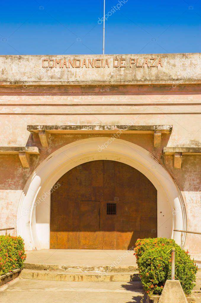 LIBERIA, COSTA RICA, JUNE, 21, 2018: Outdoor view of beautiful Comandancia de Plaza, the old jail and future museum. Liberia, Costa Rica in gorgeous blue sky in summer day