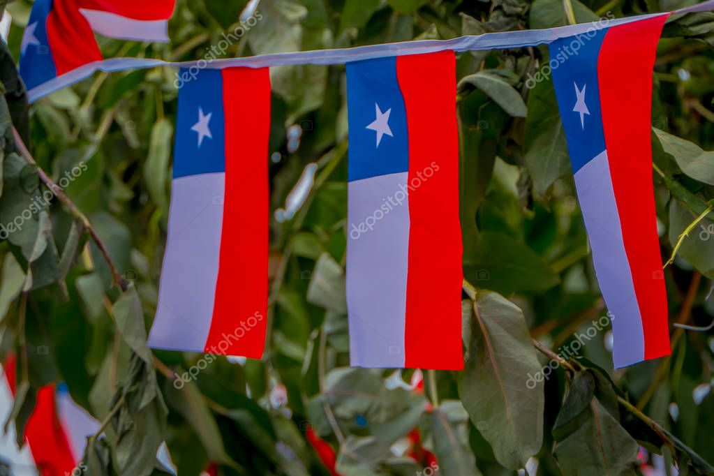 Outdoor view of Chilean flag pennants hanging from a rope