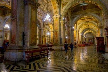 SANTIAGO, CHILE, OCTOBER 09, 2018: Interior of cathedral of Santiago de Compostela,The final destination for pilgrims walking along the world famous camino de Santiago