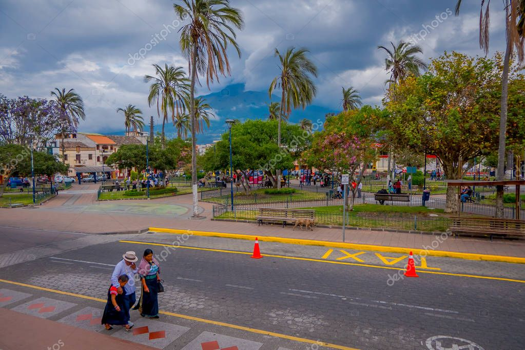 Calderon Park, Cotacachi, Ecuador, in front of Matriz Church