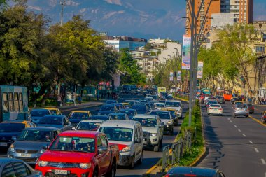 SANTIAGO DE CHILE, CHILE - OCTOBER 16, 2018: Cars in traffic jam in Las Condes district. The city is among top cities in the world with worst traffic during rush hour
