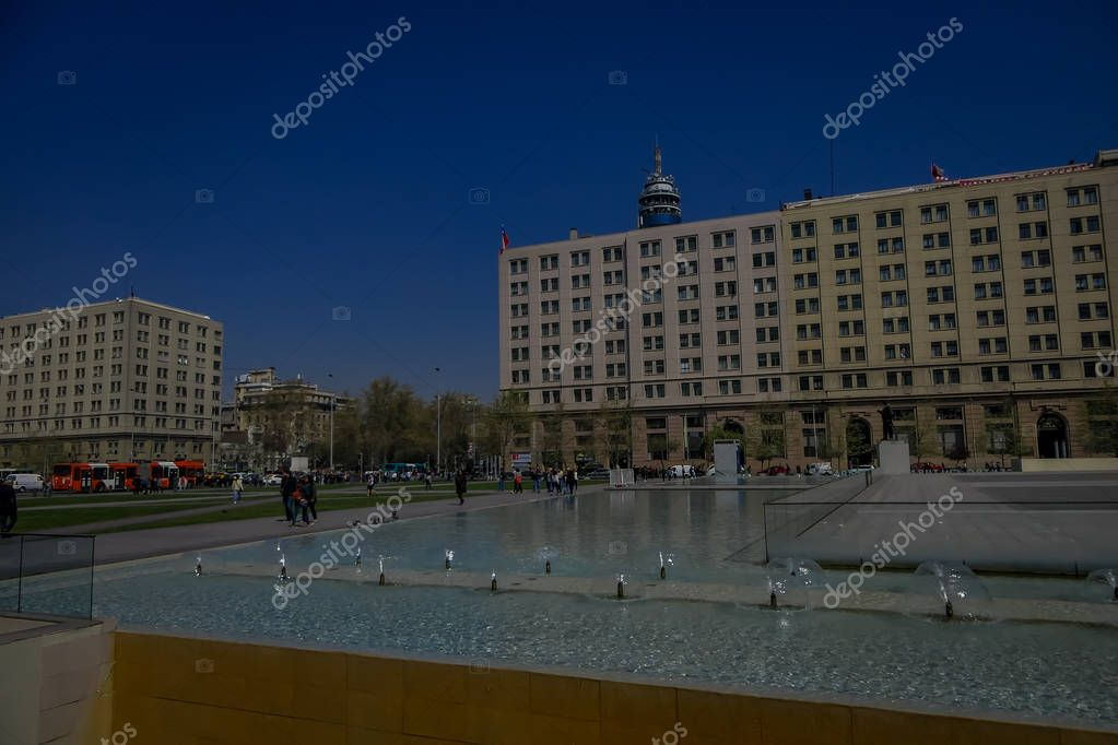 SANTIAGO, CHILE - SEPTEMBER 13, 2018: Outdoor view of underexposed gorgeous building of Santa Lucia Hill, Plaza de Armas and La Moneda Santiago Chile