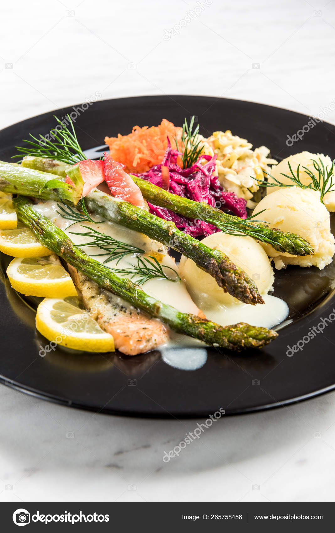 Grilled Salmon With Asparagus And Potatoes Restaurant