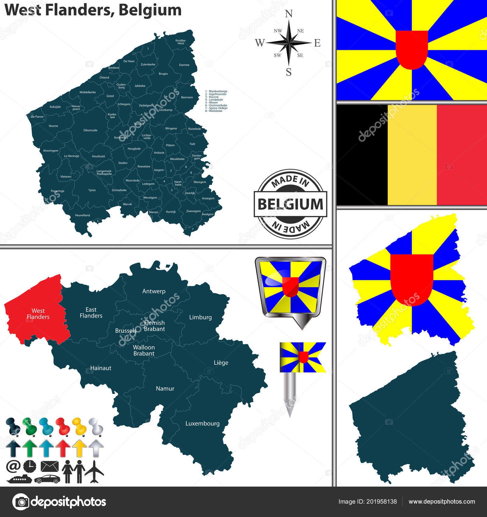 Kuurne Carte Belgique.Carte Vectorielle Region Flandre Occidentale Emplacement Sur