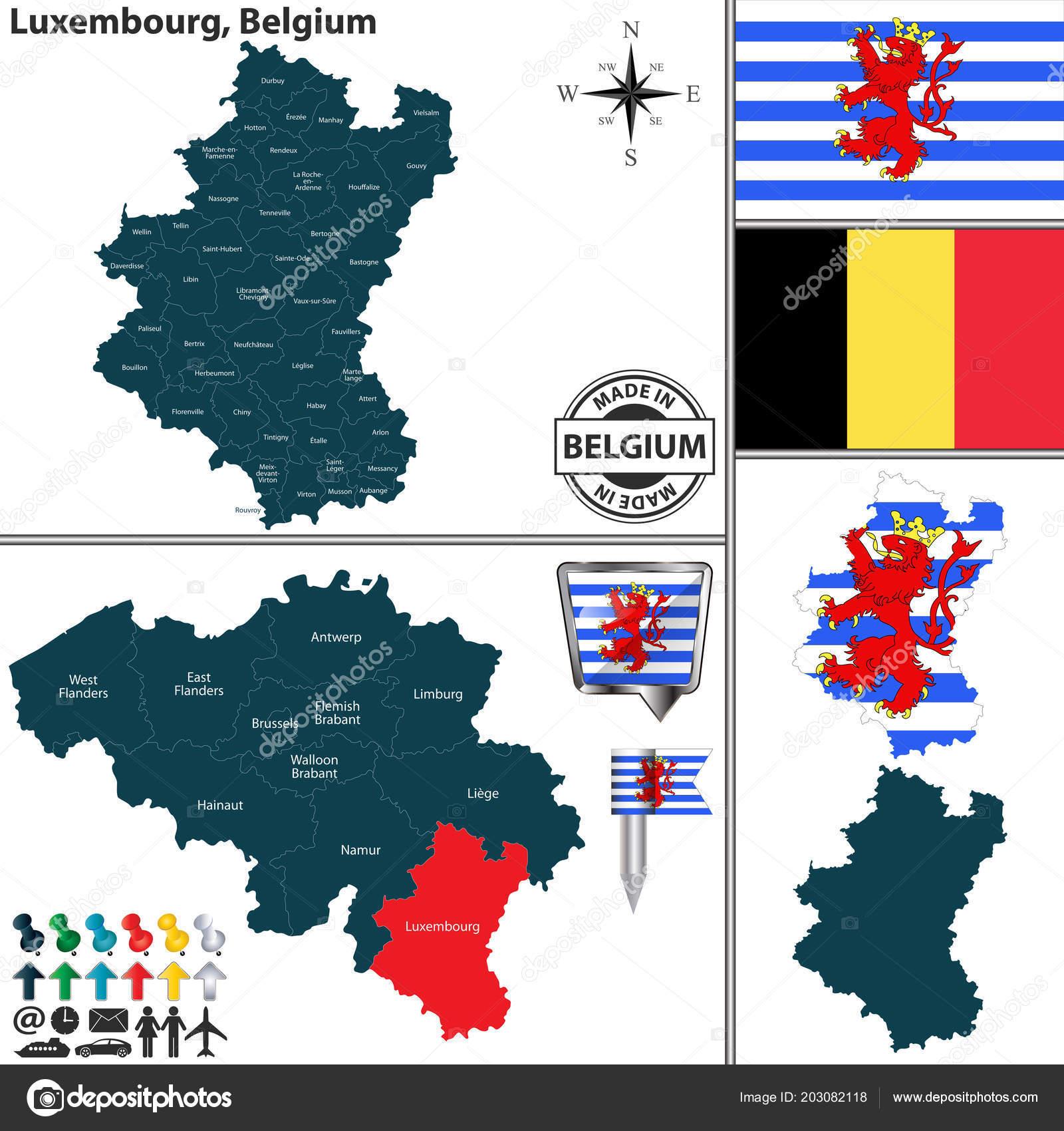 Vector Map Luxembourg Region Location Belgian Map — Stock Vector ...