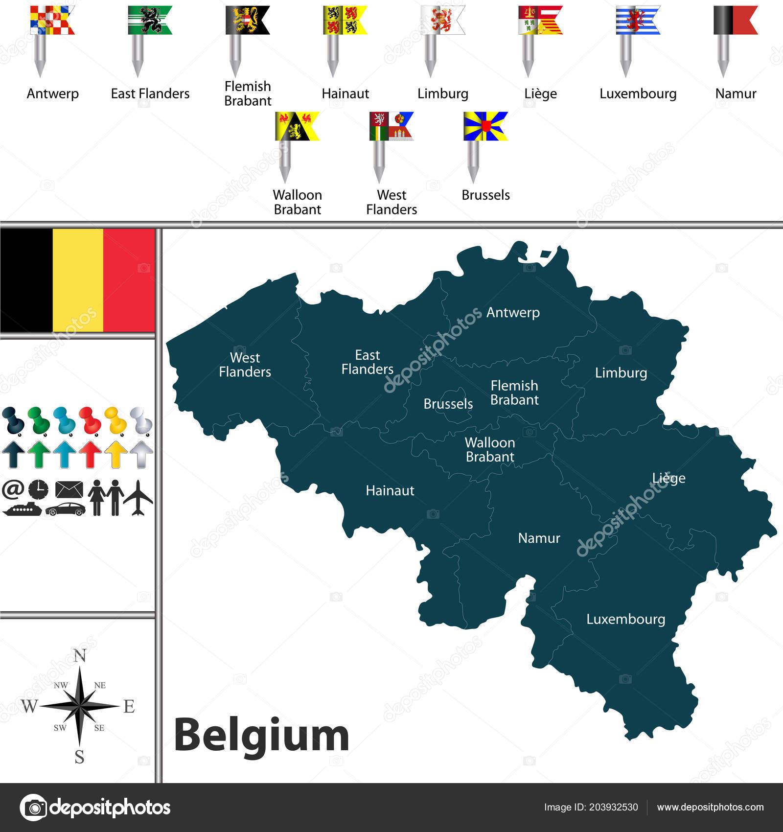 Carte Belgique Eps.Carte Vectorielle Belgique Avec Les Regions Les Drapeaux